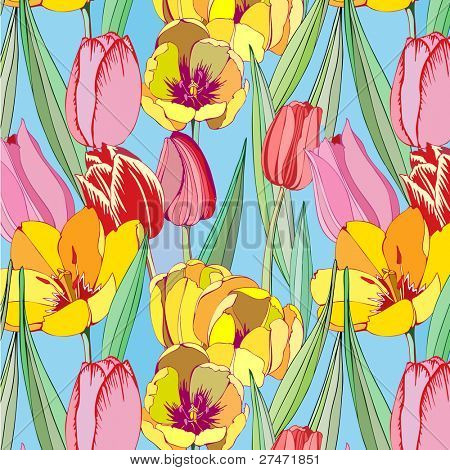 seamless  pattern with pink and yellow tulips