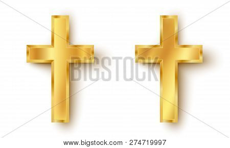 Vector Set Icons Of A Golden Cross. Golden Cross