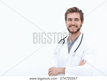 portrait of a friendly doctor.isolated on white
