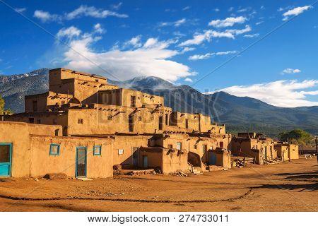 Ancient Dwellings Of Unesco World Heritage Site Named Taos Pueblo In New Mexico. Taos Pueblo Is Beli