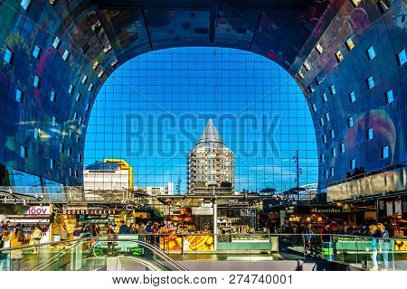 Rotterdam / The Netherlands - Sept. 26, 2018: The Modern Architecture Of Market Hall, A Multi Purpos
