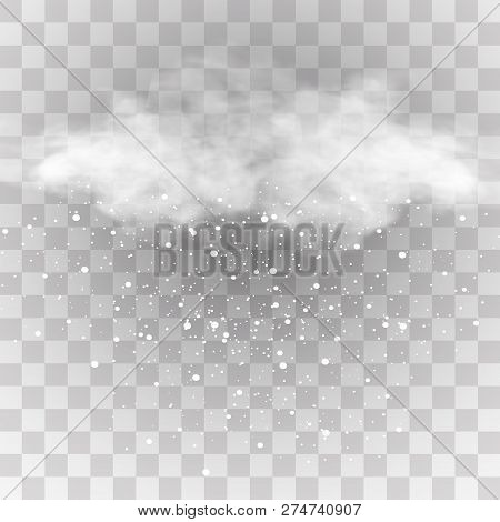 Snow And Wind On A Transparent Background. White Gradient Decorative Element.vector Illustration. Wi