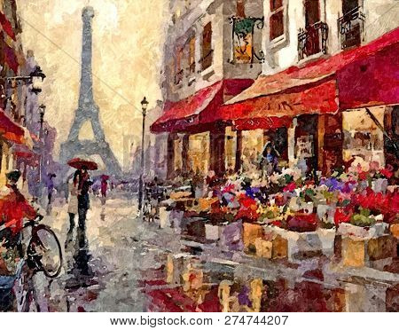 Rainy Morning In Paris. City Sketches. Painting Wet Watercolor On Paper. Naive Art. Abstract Art. Dr