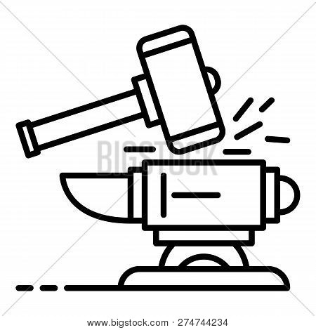 Hammer Anvil Icon. Outline Hammer Anvil Vector Icon For Web Design Isolated On White Background