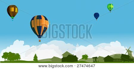 illustration with balloons above country landscape