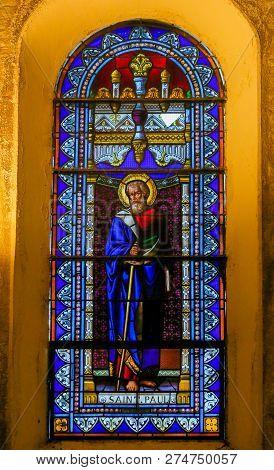 Saint Paul, France - November 15, 2018: Stained Glass In The Church Of Saint-paul-de-vence, France,