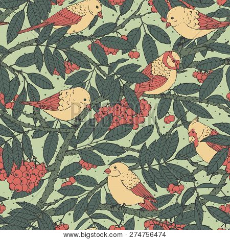 Hand Drawn Vector Seamless Pattern With Birds, Branches, Leaves And Rowanberry On Green Dotted Backg