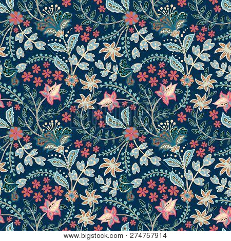 Retro Wild Flower Pattern In The Many Kind Of Florals. Botanical Motifs Scattered Random. Seamless V