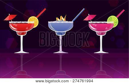 Margarita Cocktail Strawberry, Margarita Cocktail And Fresh  Margarita Cocktails On Black And Purple
