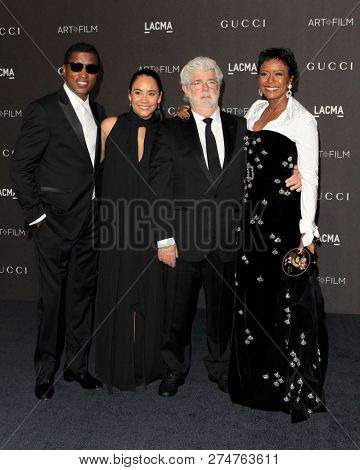 LOS ANGELES - NOV 3:  Kenneth 'Babyface' Edmonds, Nicole Pantenburg, George Lucas, Mellody Hobson at the 2018 LACMA Gala at the Los Angeles County Musem of Art on November 3, 2018 in Los Angeles, CA