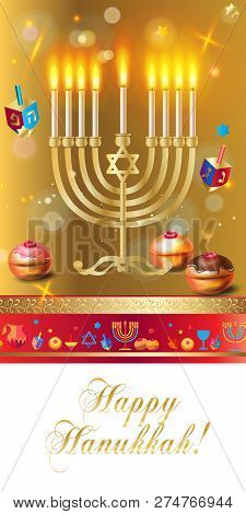 Happy Hanukkah Banner Traditional Jewish Holiday Hanuka Festival Of Lights Symbols Gold Decoration.