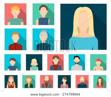 Avatar And Face Flat Icons In Set Collection For Design. A Persons Appearance Vector Symbol Stock We
