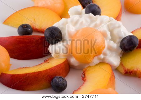 Plate Of Fruit And Cottage Cheese