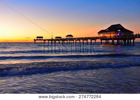 Clearwater, Florida. October 21,2018  Panoramic View Of Pier 60 On Colorful Sunset Background At Cle