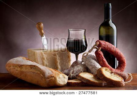 bread parmesan cheese and salami