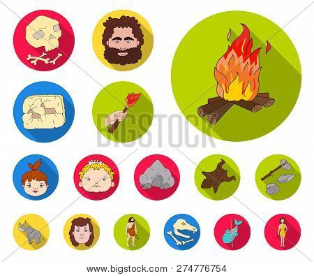 Life In The Stone Age Flat Icons In Set Collection For Design. Ancient People Vector Symbol Stock We