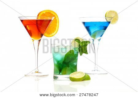 negroni mojito and curacao blue cocktails