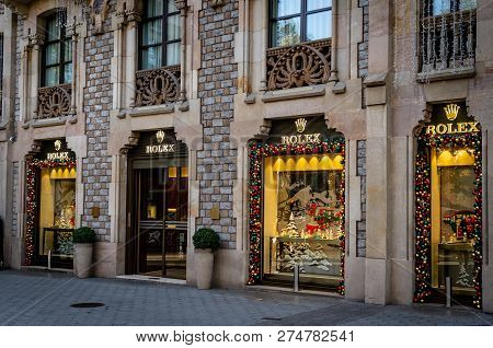Barcelona, Spain. December 2018: Official Rolex Boutique Store In Barcelonas Luxury Shopping Street