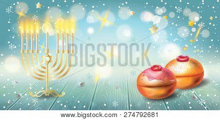 Happy Hanukkah Invitation Card With Traditional Jewish Holiday Hanuka Festival Of Lights Symbols. Ch
