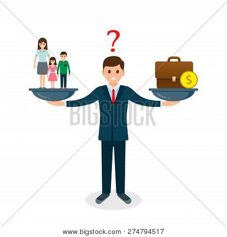 Family Vs Business On Scales Concept. Solution Between Work, Money And Family. Balance Life Business