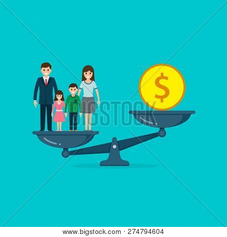 Family Vs Business On Scales Concept. Solution Between Work, Money And Family. Lifestyle Business Co