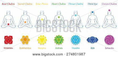Chakras Of A Meditating Woman. Symbols With Sanskrit Names And Appropriate Colors. Isolated Vector I