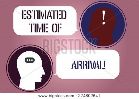 Writing note showing Estimated Time Of Arrival. Business photo showcasing Hours at which a flight is supposed to arrive Messenger Room with Chat Heads Speech Bubbles Punctuations Mark icon. poster
