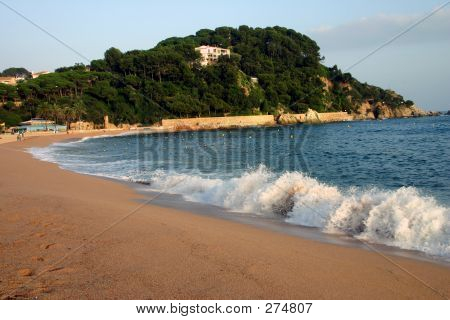 fenals beach at lloret de mar spain poster