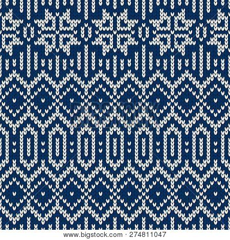 Winter Sweater Fairisle Design. Seamless Christmas And New Year Wool Knitting Pattern. Vector Illust
