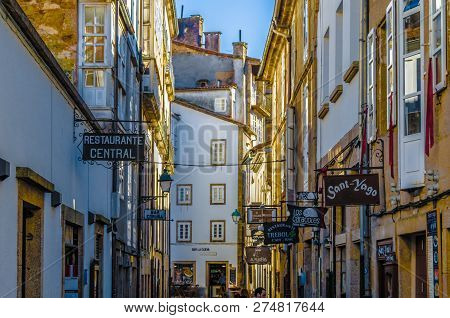 Santiago De Compostela, Spain - April 4, 2015: Urban Scene In Santiago De Compostela, Galicia, North