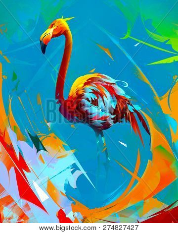Painted Bright Flamingo Bird On Abstract Background