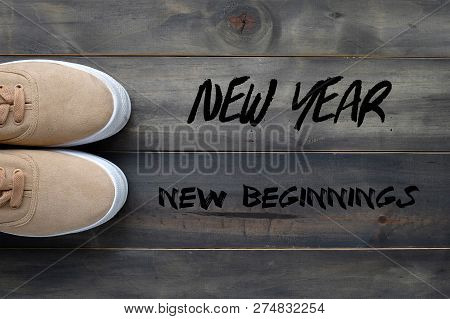 New Year New Beginnings, Positive Quotation, New Year Greeting Card Banner
