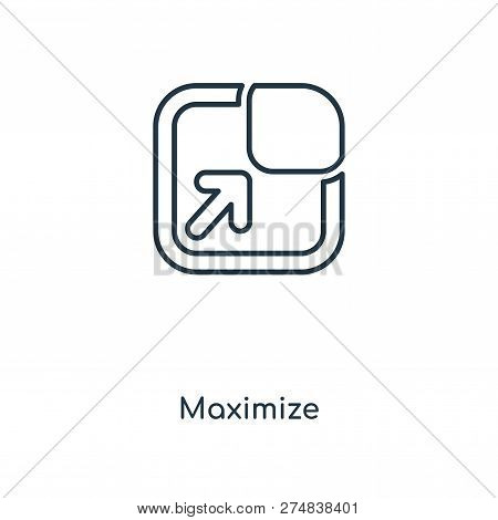 Maximize Icon In Trendy Design Style. Maximize Icon Isolated On White Background. Maximize Vector Ic