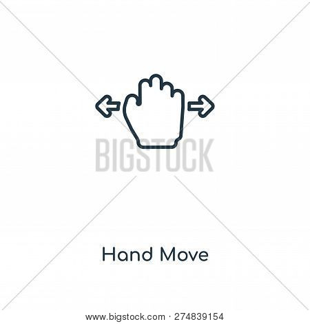 Hand Move Icon In Trendy Design Style. Hand Move Icon Isolated On White Background. Hand Move Vector