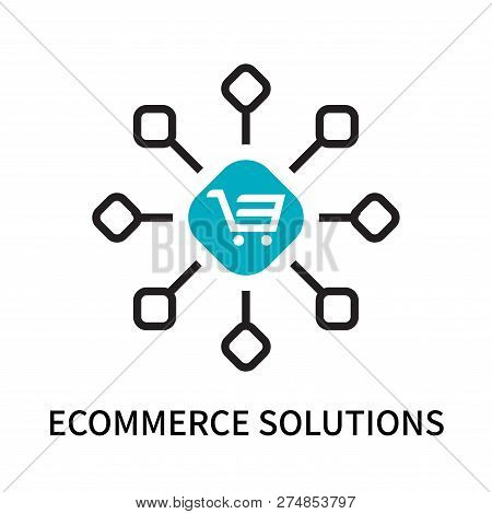 Ecommerce Solutions Icon Isolated On White Background. Ecommerce Solutions Icon Simple Sign. Ecommer