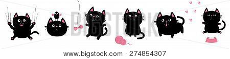 Black Fat Cat Set. Bird, Butterfly, Bow, Pawprint Clew Ball Paw Print. Nail Claw Scratch, Sitting, S