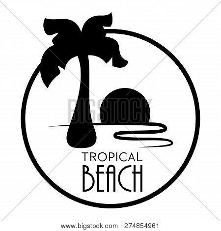 Black Palm Tree Vector On White Background. Retro Palm Tree Logo Isolated. Elegant Coco Palm Tree Wi