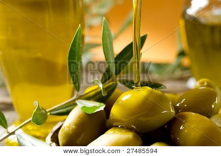 olive oil over olives