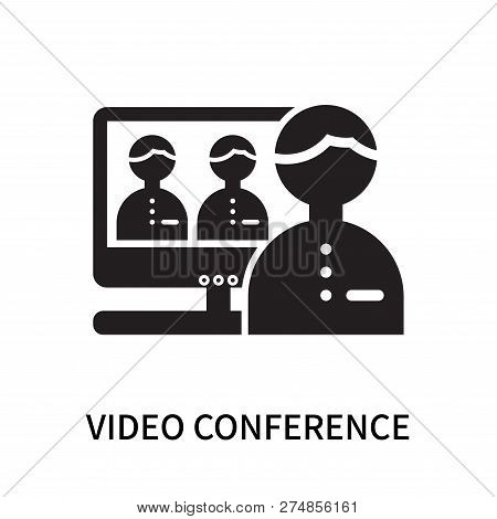 Video Conference Icon Isolated On White Background. Video Conference Icon Simple Sign. Video Confere