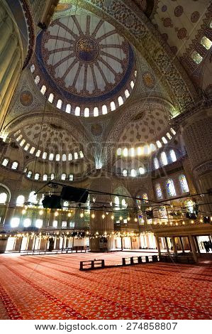 Istanbul, Turkey - 18 Aug, 2015: Interior Of Blue Mosque In Istanbul. Beautiful Stained-glass Window
