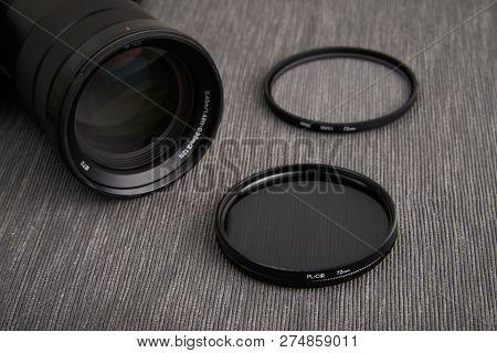 Close Up Of Circular Polarizer Camera Lens Filter And Camera Lens