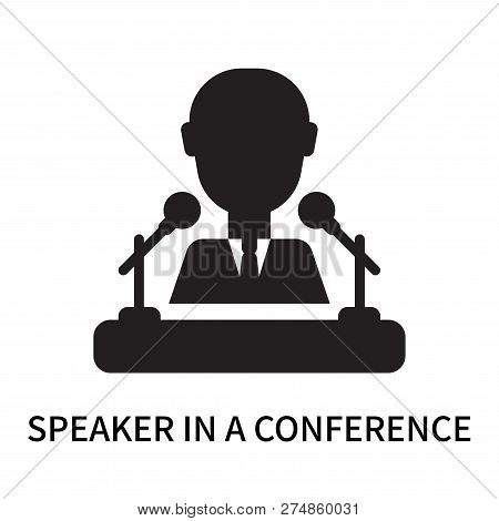Speaker In A Conference Icon Isolated On White Background. Speaker In A Conference Icon Simple Sign.