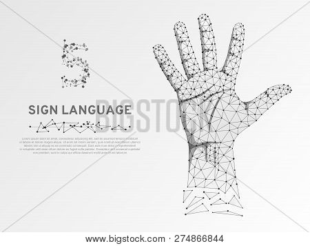 Origami Style Sign Language Number Five Gesture, Human Hand Showing Five Fingers. Polygonal Low Poly