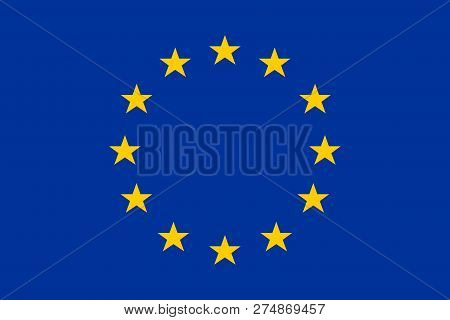 European Union. Flag Of Europe. Official Colors. Correct Proportion. Vector Illustration