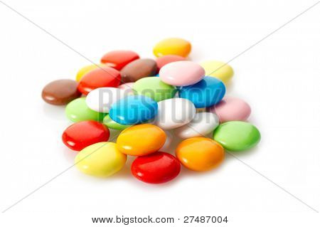 mixed candy on white background