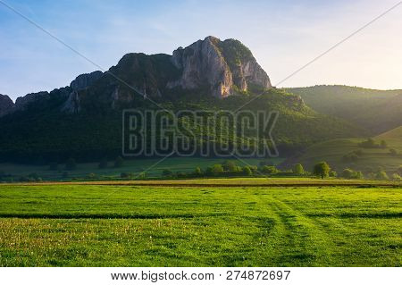 Beautiful Sunrise In Mountains. Wonderful Springtime Scenery With Trees On A Grassy Meadow And Huge