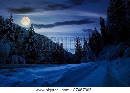 Road In Snow Through Winter Forest At Night In Full Moon Light. Beautiful Scenery In Mountains. Spru