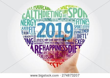 2019 Heart Sport Word Cloud With Marker, Health Concept Background