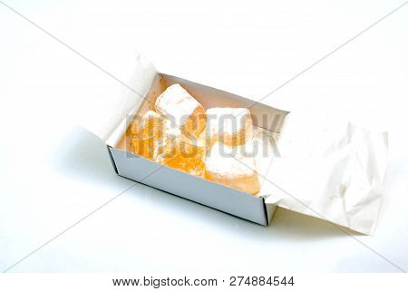 rahat lokum on white background, sweet food image poster