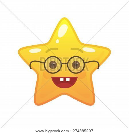 Egghead Star Shaped Comic Emoticon. Nerd Face With Facial Expression. Geek Emoji Symbol For Internet